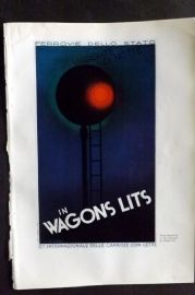 The Studio 1931 Art Deco Print Poster Designed by A. M. Cassandre for Wagon Lits